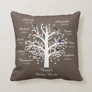 Grandma Tree, White on Taupe, 9 Names & Dates Throw Pillow