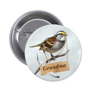 Grandma White throated sparrow 2 Inch Round Button