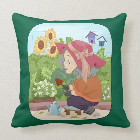 Grandma working in her garden throw pillow
