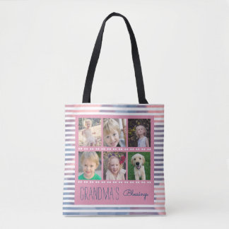 Grandma's Blessings Photo Collage Pink & Blue Tote Bag