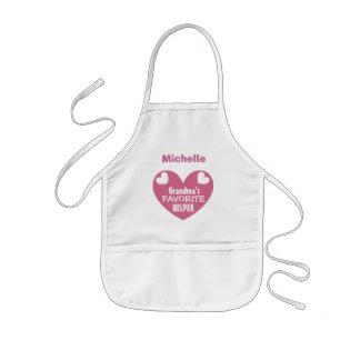 Grandma's Favorite Helper with Name PINK Heart V1B Kids Apron