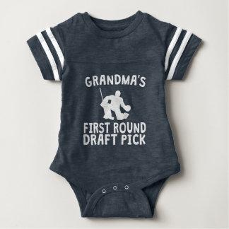Grandma's First Round Draft Pick Hockey Baby Bodysuit