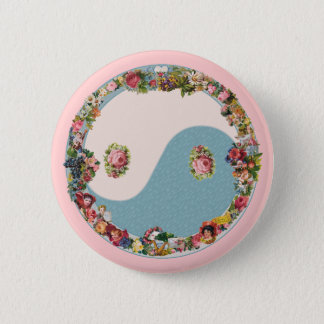 Grandma's Floral Yin Yang 2 Inch Round Button