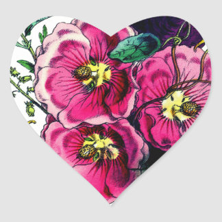 Grandmas Hollyhock Bouquet Heart Sticker
