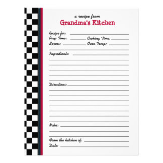 Grandmas Kitchen Checkered Red Accent Recipe Page
