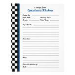 Grandmas Kitchen Chequered Blue Accent Recipe