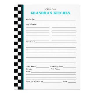 Grandma's Kitchen Chequered Recipe Stencil Letterhead