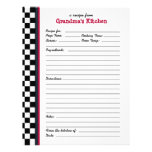 Grandmas Kitchen Chequered Red Accent Recipe Page Customized Letterhead