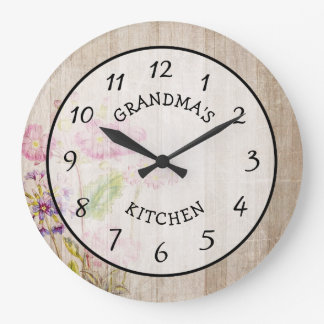 Grandma's Kitchen Rustic Floral Wood Clock