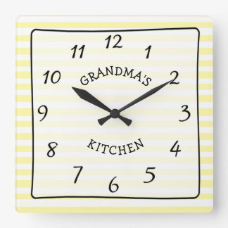 Grandma's Kitchen Yellow and White Striped Clock