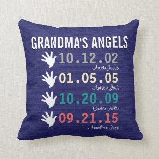 Grandma's Little Angels - 4 Grandchildren Throw Pillow