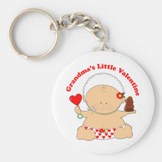 Grandma's Little Valentine's Basic Round Button Keychain