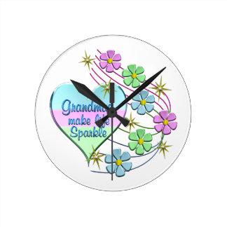 Grandmas Make Life Sparkle Round Clock