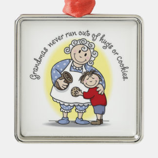 Grandma's Never Run Out of Hugs or Cookies Metal Ornament