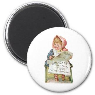 Grandma's Pancake Flour Vintage Food Ad Art 2 Inch Round Magnet