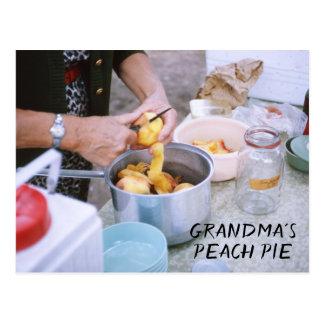 Grandma's Peach Pie Recipe Fresh Peaches Postcard