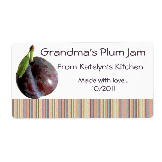 Grandma's Plum Jam Jar Label (Customize)