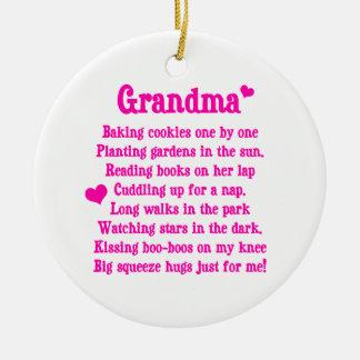 Grandma's Poem Round Ceramic Ornament