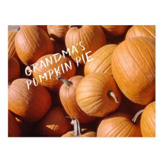 Grandma's Pumpkin Pie Recipe Orange Fall Squash Postcard