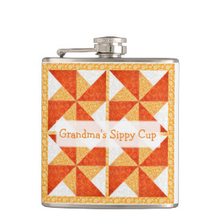 Grandma's Sippy Cup Quilt Look Hip Flask