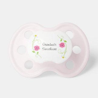 Grandma's Sweetheart Baby Girl Pacifier Pink Daisy