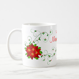 Grandmom Merry Christmas Pointsettia Gift Mug