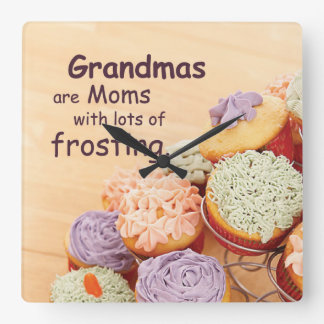 Grandmother Cupcakes Mother's Day, Square Gift Wall Clocks