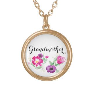 Grandmother Gift Watercolor Flowers Necklace