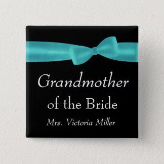 GRANDMOTHER of BRIDE Aqua Bow Wedding Custom Name 2 Inch Square Button