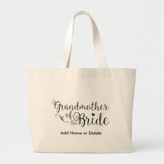 Grandmother of the Bride Large Canvas Tote Bag