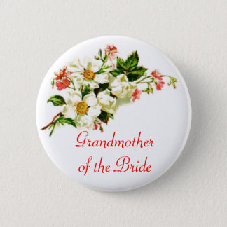 Grandmother of the Bride Spray of Flowers Floral 2 Inch Round Button