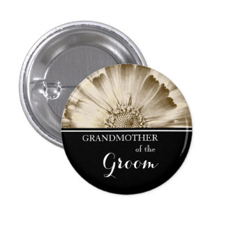 Grandmother of The Groom Wedding Gold Daisy 1 Inch Round Button