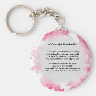 Grandmother Poem - Pink Floral Keychain