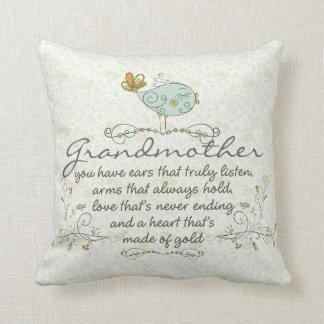 Grandmother Poem with Birds Throw Pillow