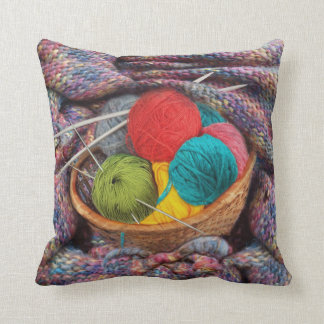 Grandmother's knitting throw pillow