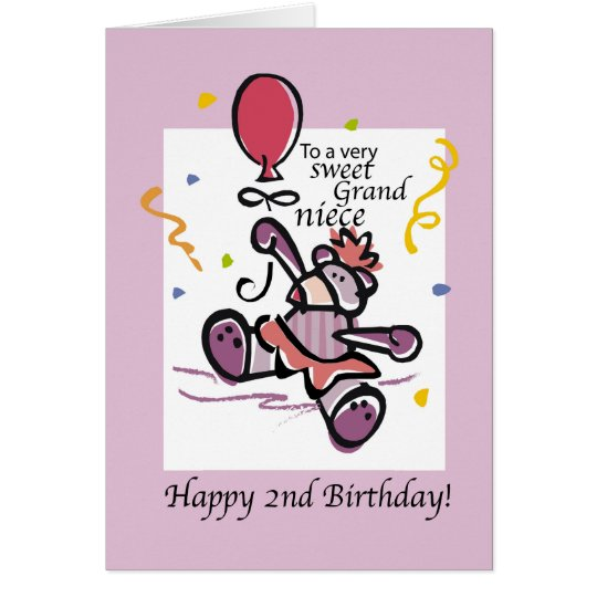 Grandniece 2nd Birthday Bear Balloon, Girl Card