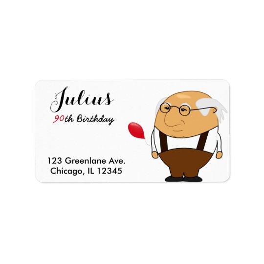 Grandpa 90th Birthday Address Label   Personalize
