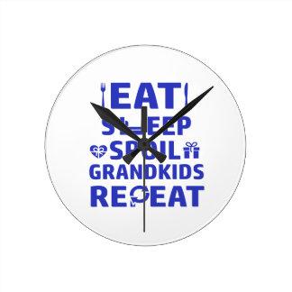 Grandpa and Grandma Round Clock