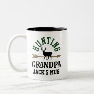 Grandpa Bow Hunting Personalized Archery Gift Two-Tone Coffee Mug
