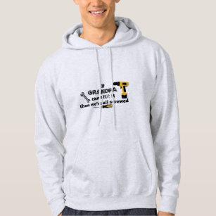 Grandpa DIY grey hooded sweatshirt