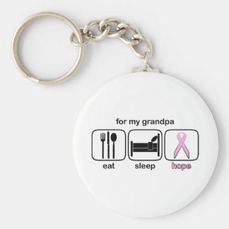 Grandpa Eat Sleep Hope - Breast Cancer Basic Round Button Keychain