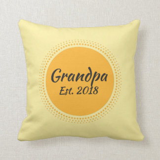 Grandpa Est. 2018 Yellow Sun Graphic Throw Pillow