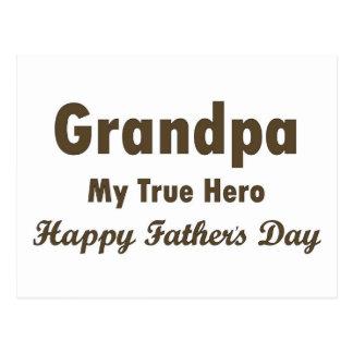 Grandpa My True Hero Happy Father's Postcard