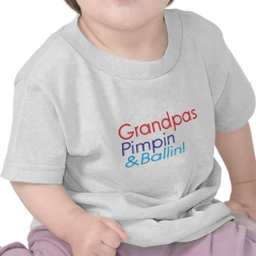 Grandpa red blue text that says Grandpa Pimpin and T-shirts