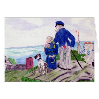 Grandpa Sea Captain with Sailor Grandson Card