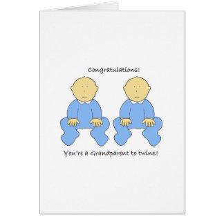Grandparent to twin boys, Congratulations Card