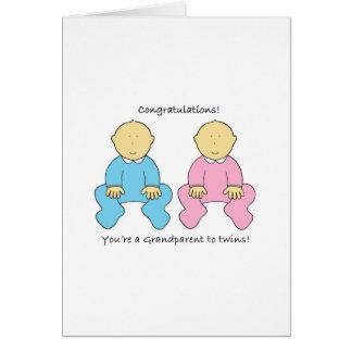 Grandparent to twins congratulations. card