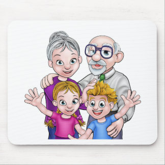 Grandparents and Children Mouse Pad