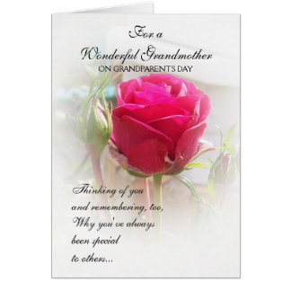 Grandparents Day Card Pink Rosebud