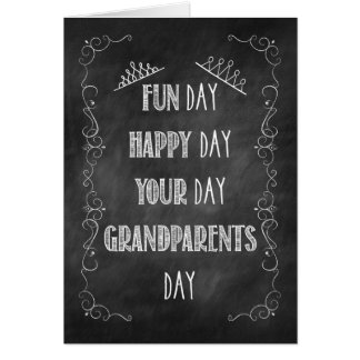 Grandparents Day Chalkboard Birthday, Crown Card